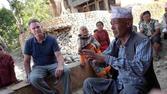 Jock participates in an assessment with the Amity Foundation and the Lutheran World Federation (LWF) in a village that had been largely destroyed two hours north-east of Kathmandu (photo by Jock Baker)